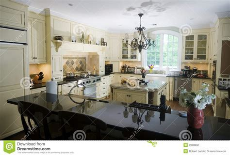 Eat In Kitchen With Island Wine And Baguettes Stock Photo