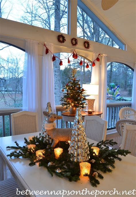 screened  porch decorated  christmas