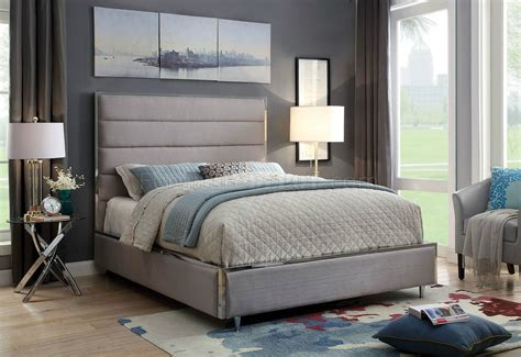 gillian bed cmgy  warm gray chrome accents