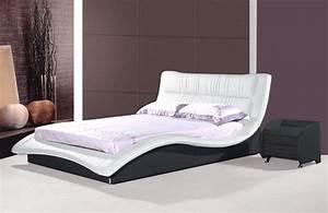 Moderne Betten Mit Led : designer lederbett schwarz und weiss wellenf rmiges leder polsterbett supply24 ~ Bigdaddyawards.com Haus und Dekorationen