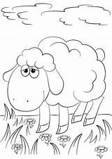 Lamb Coloring Printable Cartoon Sheep God Sheet Grass Jesus Drawing Template Angels Paper Getdrawings Dot sketch template