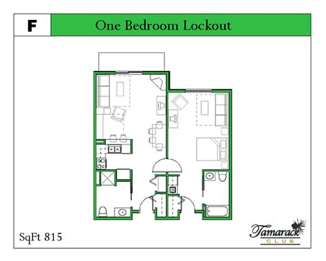One Bedroom Unit Layout by Valley Tamarack Unit Layouts