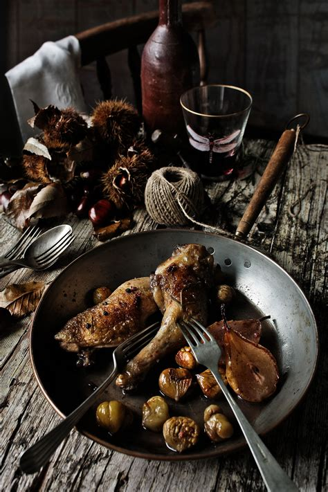 chicken thighs  pears chestnuts  port recipe sbs