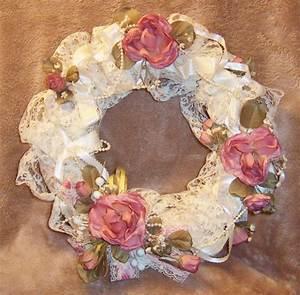 Wreath, Handmade Country Pink Mauve Rose Wreath Shabby