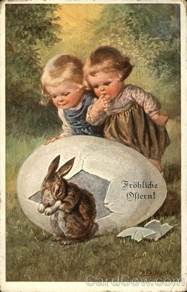 happy easter  young children watching bunny hatch