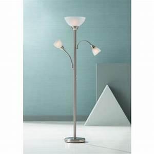 alexei brushed steel gooseneck torchiere floor lamp With gooseneck floor lamp lamps plus