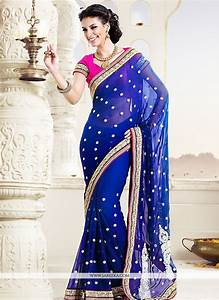 Dazzling Blue Pure Bamber Wedding Saree