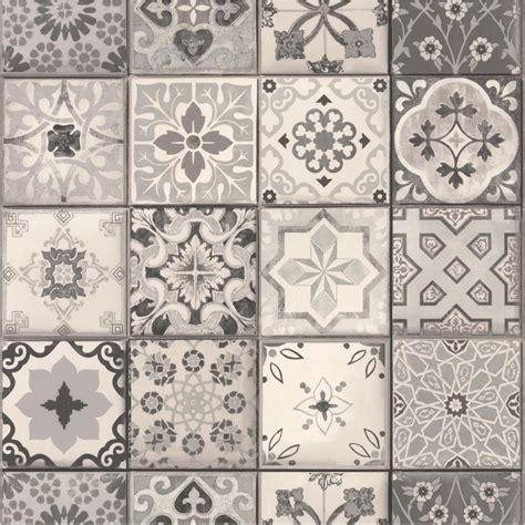 revetement mural cuisine credence vinyl effet papier peint carreau ciment gris 235 g m papier peint papier peint et
