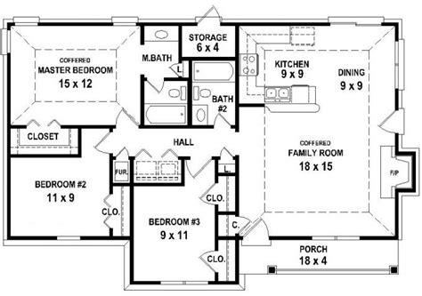 3 bed 2 bath floor plans 653626 3 bedroom 2 bath house plan less than 1250