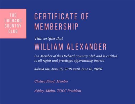 overlapping circles membership certificate templates