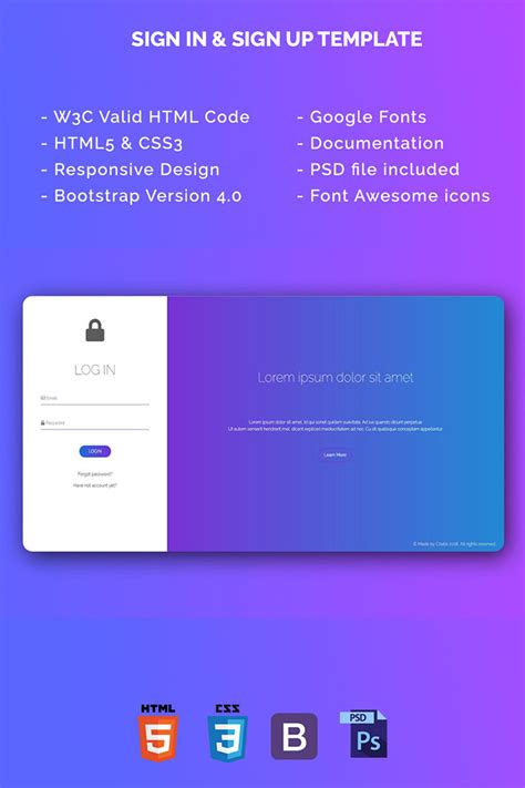bootstrap sign in templates sign in sign up template html5 bootstrap v4 0