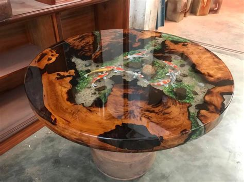 Epoxy Resin Transparent Table Handcrafted Custom 3d Fish Draw