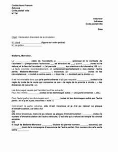 Lettre Declaration Sinistre : lettre de d claration d 39 un accident de la circulation l 39 assureur en l 39 absence de constat ~ Gottalentnigeria.com Avis de Voitures