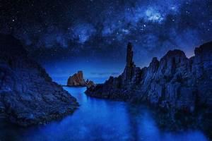 HD River Ocean Sea Stars Sky Blue Night Mood Reflection ...