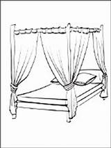 Coloring Bed Canopy Furniture 1coloring sketch template