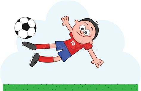 Cartoon Soccer Player Flying To Kick Stock Vector