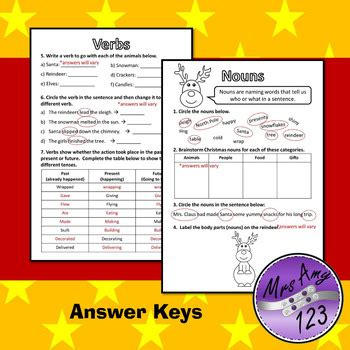 christmas parts of speech grammar worksheets nouns verbs adjectives more