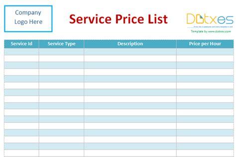 service price list template word dotxes