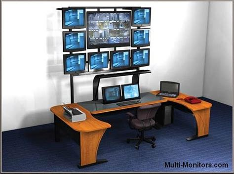 multi monitor computer desk multiple screen computer workstation desktop desk and