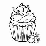 Coloring Cupcake Muffin Kawaii Blueberry Colorear Kleurplaat Colorare Cupcakes Colorir Vector Schattige Premium Pagina Cream Leaves Bladeren Bessen Coloriage Panna sketch template