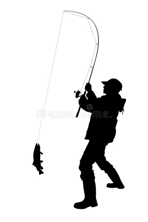 fisherman silhouette vector fisherman with a fish isolated stock illustration