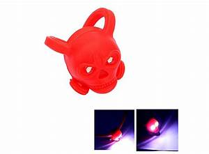 LED Cute Skull Safety Warning Bicycle Bick Light Red 2 HK ...