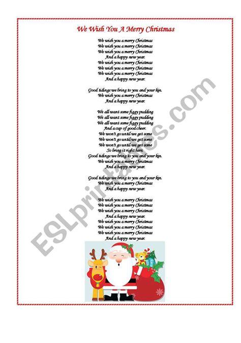 we wish you a merry christmas esl worksheet by maschulya