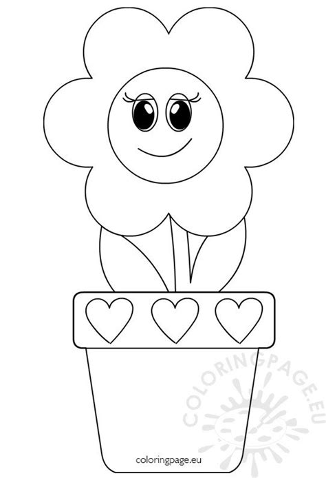 flower  smiling face  flower pot coloring page