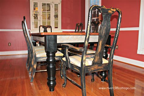 black distressed table and chairs dining room table burlap and berries