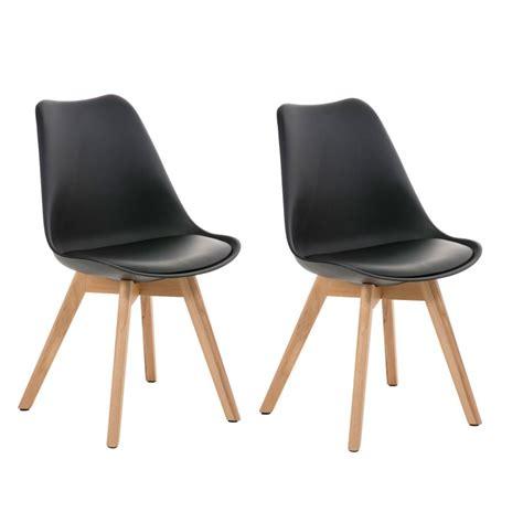 housse de chaise en simili cuir lot de 2 chaises de salle à manger scandinave simili cuir noir pieds bois cds10004 décoshop26