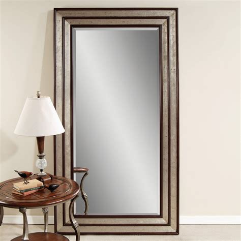 floor mirror leaner silver leaf black accent floor leaner mirror 46w x 84h in mirrors at hayneedle
