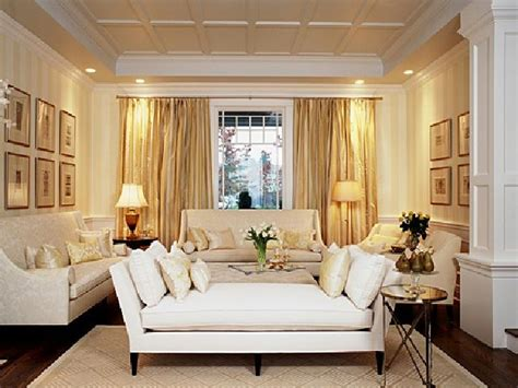 formal living room design ideas with gold curtain