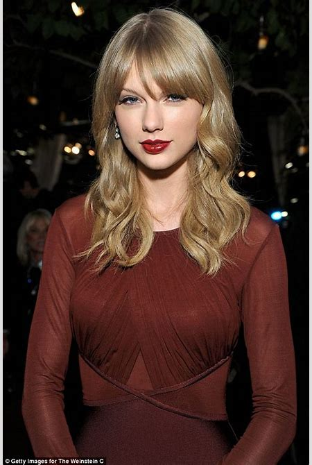 Taylor Swift shows off incredible figure in fitted maroon frock at Weinstein Company holiday ...