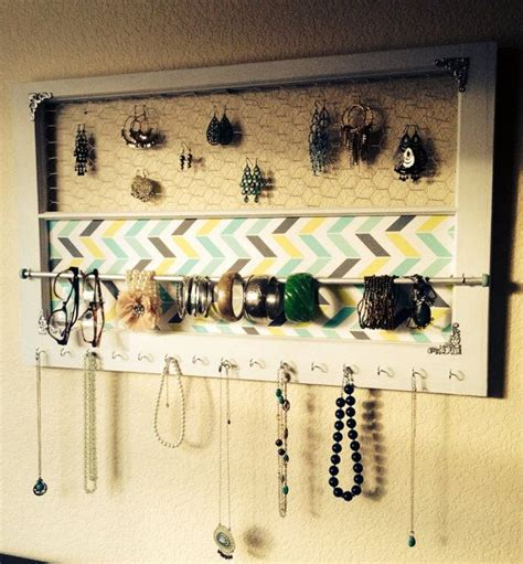 deluxe size    wooden window jewelry organizer