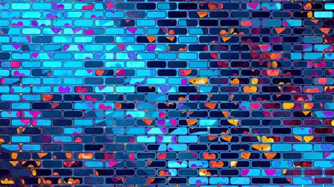 wallpaper bricks neon love hearts pattern hd abstract