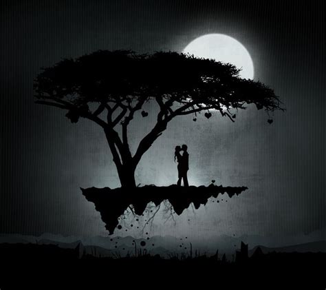 Every time i create something, it makes me happy. rain under a moon   ... silhouette,moonlight,heart,couple,lover,tree,trees,kiss,kissing,moon ...