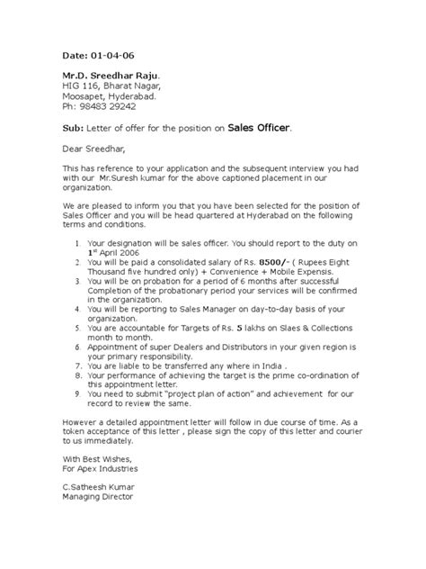 appointment letter politics government