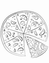 Pizza Coloring Pages Sliced Drawing Printable Fraction Template Sketch Paper Dot Categories sketch template