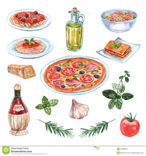 illustration cuisine food watercolor set stock vector image 56998635
