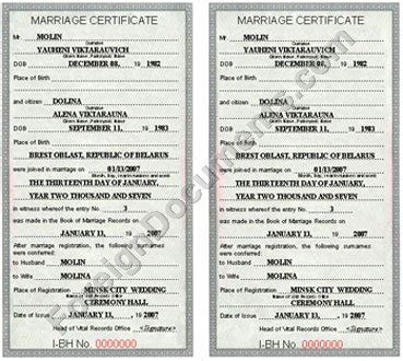 marriage certificate issued  belarus certified translation