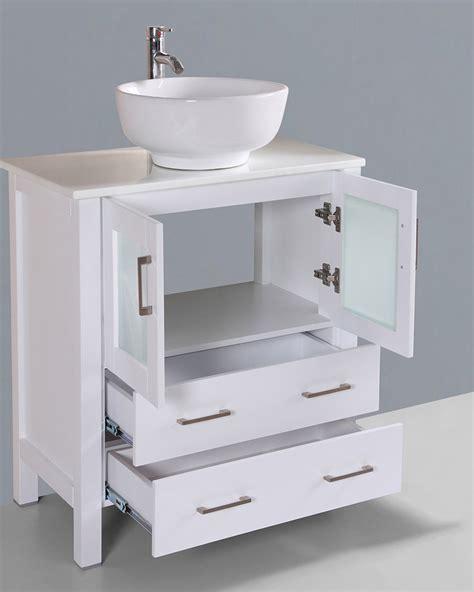 round vessel sink vanity white 30in round vessel sink single vanity by bosconi