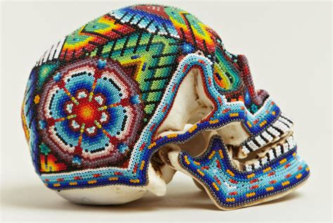 exquisite corpse beaded skulls   huichol