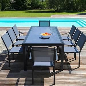 Table De Jardin Extensible Aluminium : ensemble table extensible de jardin 200 300 cm 8 chaises gris aluminium et plateau verre ~ Melissatoandfro.com Idées de Décoration