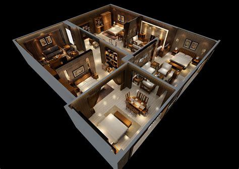 designer living house interior design model overlooking 3d house