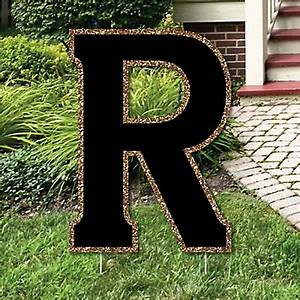 yard letter r black and gold 155quot letter outdoor lawn With big yard letters