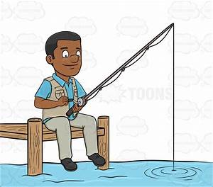 A Black Man Patiently Waiting To Catch A Fish Cartoon ...