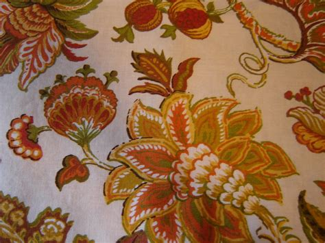 vvntage fabric curtains jacobean floral print gold rust