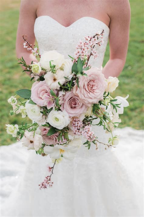 Blush Bridal Bouquet With Roses Ranunculus Hellebores