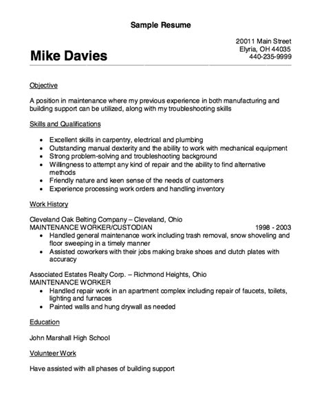 maintenance worker free sle resume resume exle