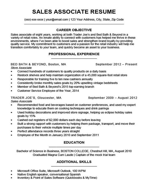 Sales Associate Qualifications Resume by Sales Associate Resume Sle Writing Tips Resume